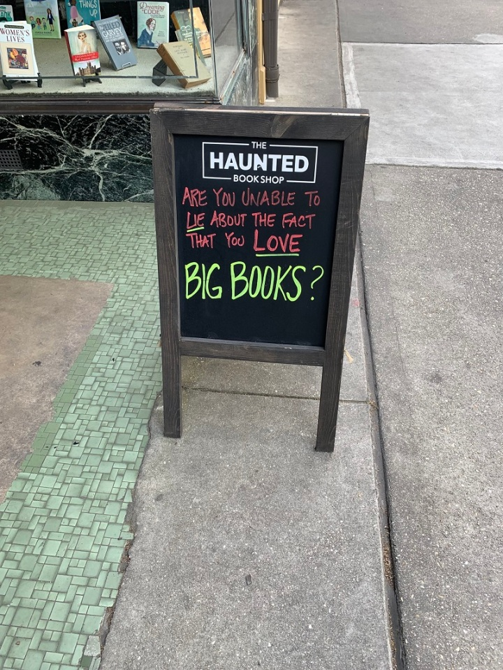 The Haunted Book Shop Funny sign PlantingMe.com
